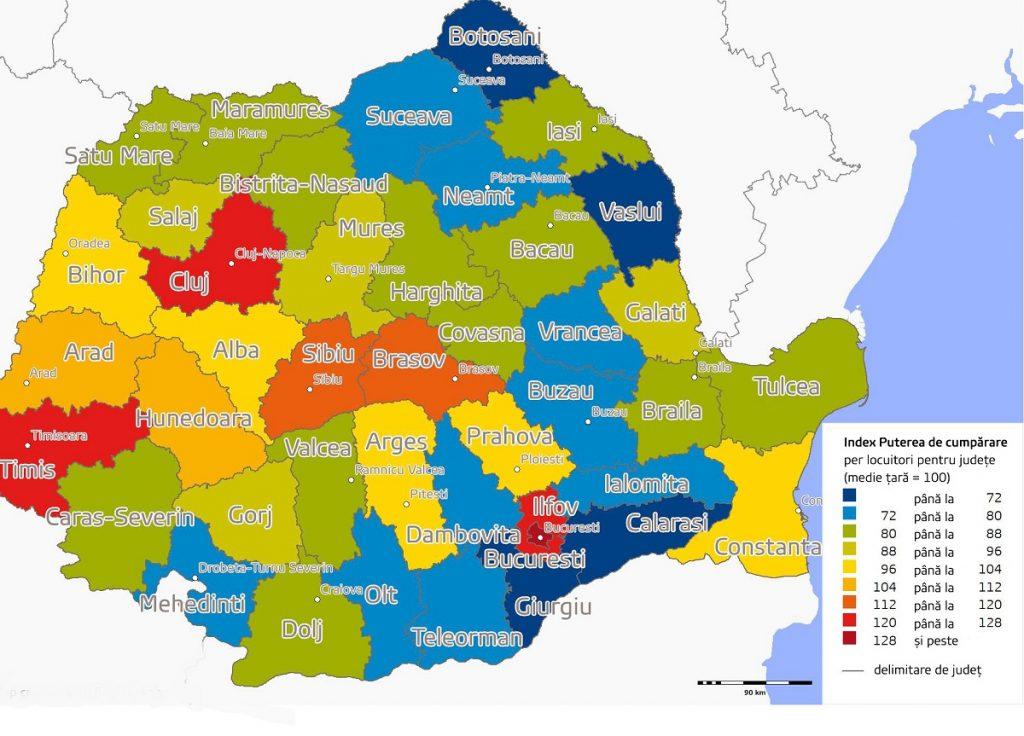 Așa Arată Harta Puterii De Cumpărare A Romanilor Pe Județe